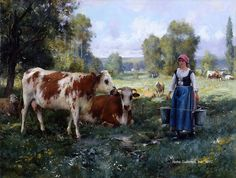 "Painting of the Day (AVAILABLE): Julien Dupre's ""Laitiere Gardant ses Vaches"" - http://rehs.com/blog/2014/11/painting-of-the-day-available-julien-dupres-laitiere-gardant-ses-vaches/"