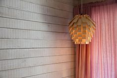 The Scots Light wooden lampshade by Tom Raffield. Shop this and our complete signature steam bent range of contemporary designer furniture made using sustainably sourced wood here. Light, Contemporary Furniture Design, Wooden Lampshade, Bulb, Pendant Light, Tom Raffield, Diffused Light, Ceiling Lights, Downlights
