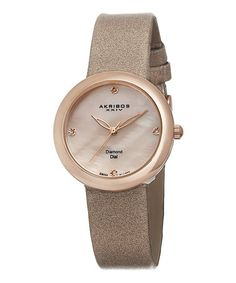 Loving this Rose Goldtone & Diamond Dial Satin-Strap Watch on #zulily! #zulilyfinds