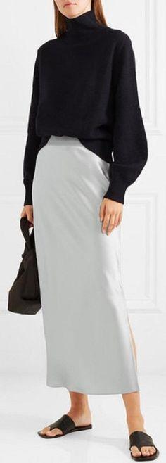 Theory Silver Satin Slip Skirt Size 4 (S, Dressy Outfits, Modest Outfits, Skirt Outfits, Stylish Outfits, Cool Outfits, Sweater Skirt Outfit, Long Silk Skirt, Slip Skirts, Midi Skirts