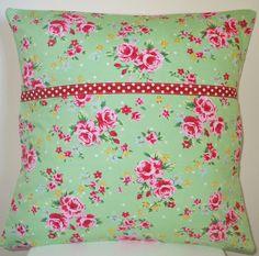 Shabby chic spray flower pillow cushion in green. $16.00, via Etsy.