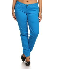 Turquoise Five-Pocket Skinny Pants - Plus Too