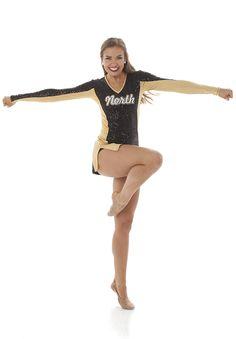 Sparkly pom uniform for dance teams. Drill Team Uniforms, Dance Team Uniforms, Dance Team Shirts, Dance Team Hair, Cheer Dance, Dance Outfits, Dance Dresses, Dance Team Photography, Photography Poses