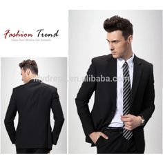 Black Customized Two Buttons Side Vent Regular Fit Mens Business Suits (Jacket+Pants+Tie) BS044 Terno Masculino Slim