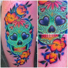 Sugar skull done at @love_hatelondon by Megan Massacre
