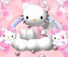 hello kitty angel angel and devil Cute Gifs, Hello Kitty Wallpaper, Sanrio Characters, Pink Walls, Cute Icons, Soft Grunge, Doraemon, Wall Collage, Cute Wallpapers