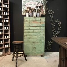 industrial painted chest
