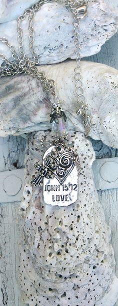 Religious Quote Necklace Cross Heart by SecretStashBoutique