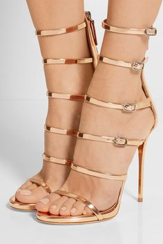 5 inche Rose gold mirrored-leather heels