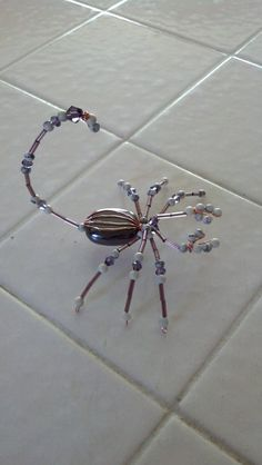 beaded scorpion purple white and pink by Natjerm on Etsy, $12.00