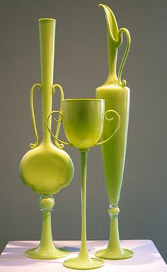 "Try glassblowing and you'll truly undertand the insane skill level of this work.  :)    ""Trio"" by glass artist Dante Marioni. Stunning in chartreuse."