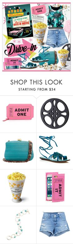 """Drive-in Movie * Turquoise Outfit"" by calamity-jane-always ❤ liked on Polyvore featuring Kate Spade, Dot & Bo, Serpui, Bernardo, Frontgate, Anne Klein, rag & bone/JEAN, DateNight, fashionset and drivein"