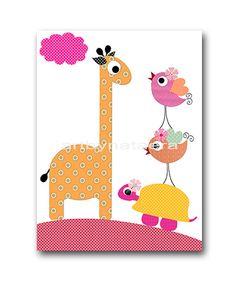 Owls Giraffe Nursery Art Instant Download Print Playroom Decor Printable Art Digital Download Digital Art Baby Girl Nursery Art 8x10 11X14