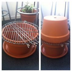 """Terra Cotta BBQ grill. For around $40. I used 2 -15"""" azalea pots and 2 saucers and a round standard grill. Glue hole closed on one pot so sand doesn't escape. Place saucer, then pot on saucer. Fill half way w sand, place ready coals from a charcoal starter on sand, place grill on pot.The second pot can be used as lid w/ hole for smoke & second saucer as a lid to put coals out. Camouflage grill w a plant on saucer after grill has cooled. USE APPROPRIATE HEAT PROOF GLOVES WHEN HANDLING!!!"""