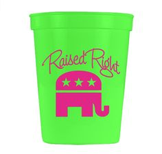 Raised Right Neon Green Cup | THE LUCKY KNOT