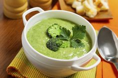 Broccoil and Kale Soup -  Ingredients:   2 tbsp extra-virgin olive oil 8 cups yeast-free, gluten-free vegetable broth 1 head broccoli, cut into florets 4 celery stalks 2 handfuls of kale 2 handfuls of spinach 2/3 cup tahini 2 tsp Celtic sea salt