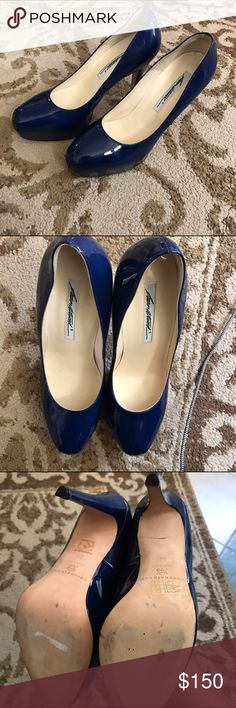 NWOT Brian Atwood patent pumps Absolutely stunning nwot heels! Navy blue! Only flaw is 4 small pin pricks in the side of the right heel but not noticeable. Only tried on around the the house. Size 38 but fits a hole size down as Brian Atwood heels run small Brian Atwood Shoes Heels