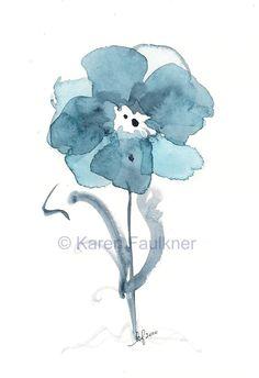 Indigo Blues Flower watercolor giclee fine art by karenfaulknerart, $15.00