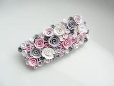 Pink and grey rose barrette hair clip handmade from by fizzyclaret, $25.00