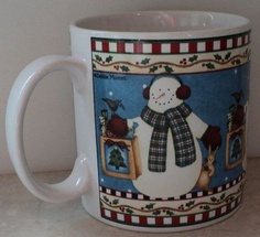 Sakura Jolly Snowman Debbie Mumm 2000 Christmas Holiday Blue Coffee Cup mug - This Item is for sale at LB General Store http://stores.ebay.com/LB-General-Store ~Free Domestic Shipping