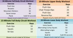 Full body work outs 15/30 minutes, lower and upper - at home
