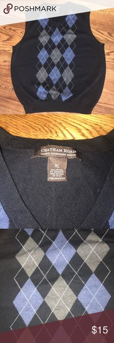 """Chatham Road cotton cashmere argyle sweater vest Chatham Road cotton cashmere argyle sweater vest. Size XL. 24.5"""" across chest armpit to armpit. Length from shoulder to bottom 29.5"""". Black with blue, gray, and white. Sweaters V-Neck"""