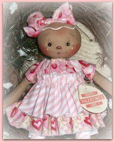 PriMitive Folkart Raggedy Ann ~ Gingerbread Girl ~ Valentine Baking #NaivePrimitive