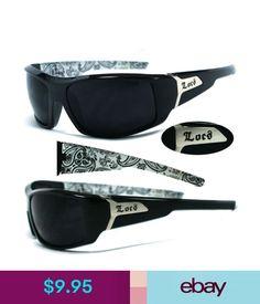 d67ff8a71e Men s Sunglasses Locs Men Cholo Biker Sunglasses - Shiny Black Frame Super  Dark Lens - White