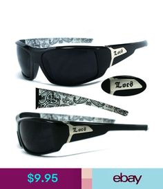 c19dbca35d3 Men s Sunglasses Locs Men Cholo Biker Sunglasses - Shiny Black Frame Super Dark  Lens - White