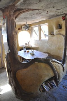 cob tree sculpture in the kitchen