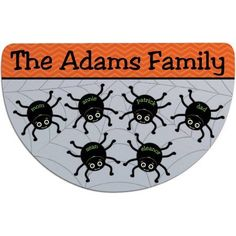 Personalized Spider Web Half Round Doormat Available In Multiple Names