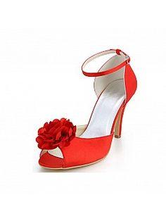 Rot Hohen Absätzen Peep Toe Satin Hochzeitschuhe mit 3D Blume - EUR 72,93€