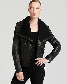 KORS Michael Kors Asymmetrical Leather Jacket - New Arrivals - Boutiques - Women's - Bloomingdale's