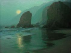 "Wading Moon by F. Michael Wood Oil ~ 20"" x 24"""