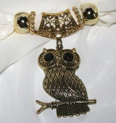 Scarf Jewelry Gold Metal Owl Pendant with Black Crystal Eyes | 123gemstones - Jewelry on ArtFire