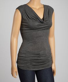 Another great find on #zulily! Charcoal Drape Top - Plus #zulilyfinds