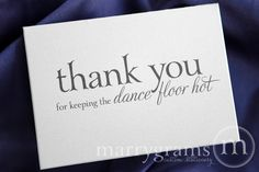 Wedding Card to Your DJ Musician - Thank You for Keeping the Dance Floor Hot - Wedding Music Band Vendor Thank You Card CS08 by marrygrams on Etsy https://www.etsy.com/listing/161137118/wedding-card-to-your-dj-musician-thank