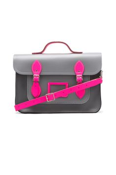 Shop for The Cambridge Satchel Company Designer Satchel in Grey & Fluoro Pink at REVOLVE. Fashion Plates, Fashion Bags, Women's Fashion, Leather Craft, Leather Bag, Mk Bags, Kinds Of Clothes, Cambridge Satchel, Bag Making