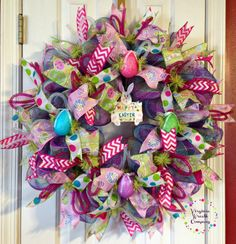 Very Colorful Happy Easter Deco Mesh Wreath