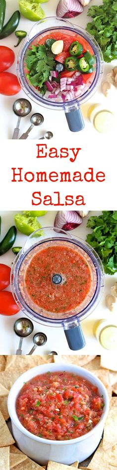 Super fresh and simple salsa made in your blender in a matter of minutes. Pass the chips!