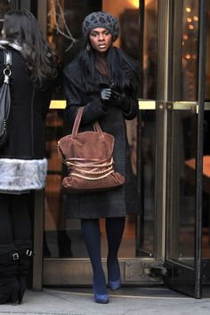 I need a beanie cap like that! It's by Eugenia Kim, and it's worn by Tika Sumpter in Gossip Girl Season 4 Episode 16.