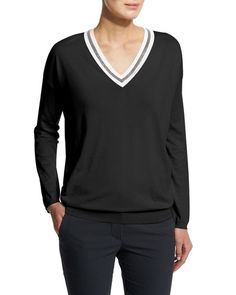 W0A4B Brunello Cucinelli Long-Sleeve V-Neck Rugby Sweater, Black