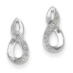 Gemologica Sterling Silver Diamond Infinity Earrings - Share your infinite love with those who matter most. These infinity earrings are crafted of solid White Earrings, Gemstone Earrings, Women's Earrings, Diamond Jewelry, Silver Jewelry, Fine Jewelry, Infinity Earrings, Silver Diamonds, Natural Diamonds