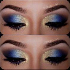 royal blue and gold makeup - Ryerson Rams School Spirit!!