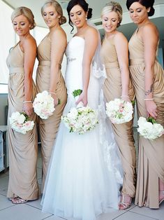 Our stunning bride Jennifer chose the Ingrid Dress by Pia Gladys Perey in Champagne for her bridesmaids. Flattering Bridesmaid Dresses, Bridesmaid Dresses Long Blue, Bridesmaid Dress Colors, Bridesmaids, Wedding Party Dresses, Bridal Dresses, Hoco Dresses, Dress Party, Dress Link