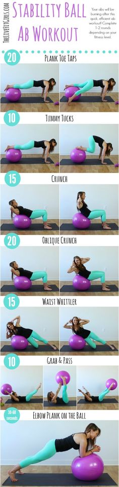 Ab focused?  Check out these 7 stability ball moves that will help strengthen your abs!