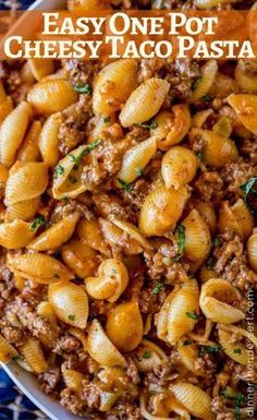 Just 5 ingredients in this Cheesy Taco Pasta! So delicious!
