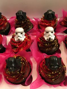 Star Wars Cupcakes.  Dark Side Cupcakes. Darth Vader and Storm Troopers