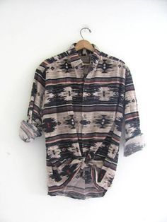 90s southwestern western shirt. oversized tribal button down flannel. men's size L