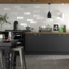 With their smooth sleek surface, these ceramic Blanco White Matt Brick Tiles are perfect for transforming and refreshing a bathroom or kitchen wall space. Brick Tile Wall, White Wall Tiles, White Bathroom Tiles, Kitchen Wall Tiles, Wall And Floor Tiles, Kitchen Flooring, Kitchen Reno, Kitchen Backsplash, Charcoal Kitchen